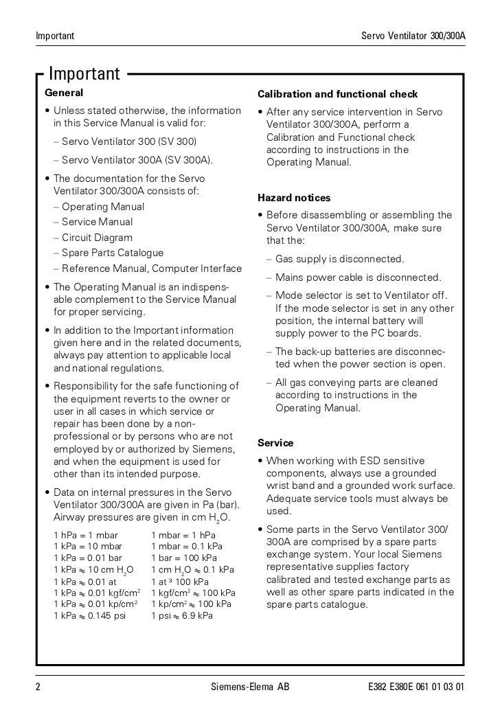 sv300service manual rh slideshare net Siemens 300 Ventilator Servo-i Ventilator Graphics