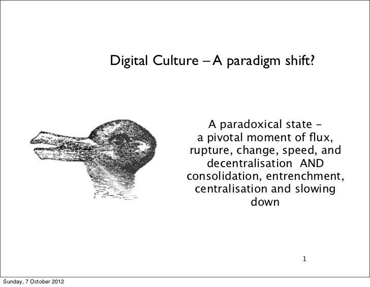 Digital Culture – A paradigm shift?                                          A paradoxical state -                        ...