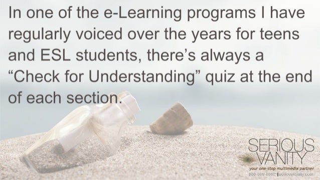 """In one of the e—Learning programs I have regularly voiced over the years for teens and ESL students,  there's always a """"Ch..."""