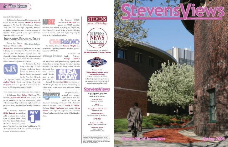 In December, January and February, guest edi-                               In February, CIESEtorials by Stevens President...