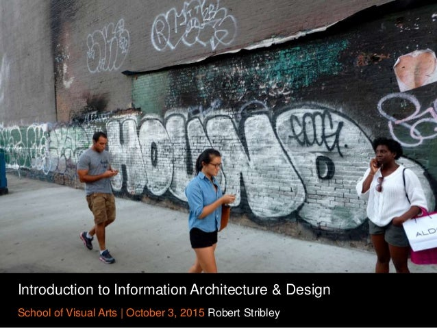 Introduction to Information Architecture & Design School of Visual Arts   October 3, 2015 Robert Stribley