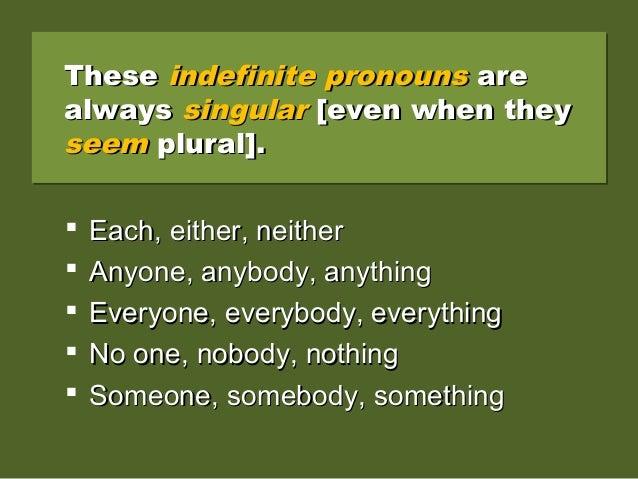TheseThese indefinite pronounsindefinite pronouns areare alwaysalways singularsingular [even when they[even when they seem...
