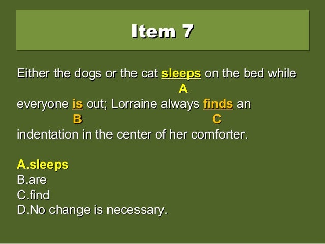Item 7Item 7Item 7Item 7 Either the dogs or the cat sleep on the bed whileEither the dogs or the cat sleep on the bed whil...