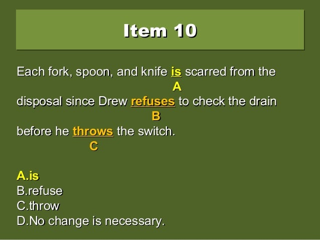 Item 10Item 10Item 10Item 10 Each fork, spoon, and knife are scarred from theEach fork, spoon, and knife are scarred from ...