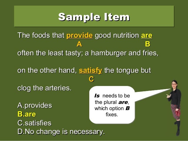 Sample ItemSample ItemSample ItemSample Item The foods that provide good nutrition isThe foods that provide good nutrition...