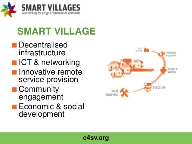 e4sv.org SMART VILLAGE ■Decentralised infrastructure ■ICT & networking ■Innovative remote service provision ■Community eng...