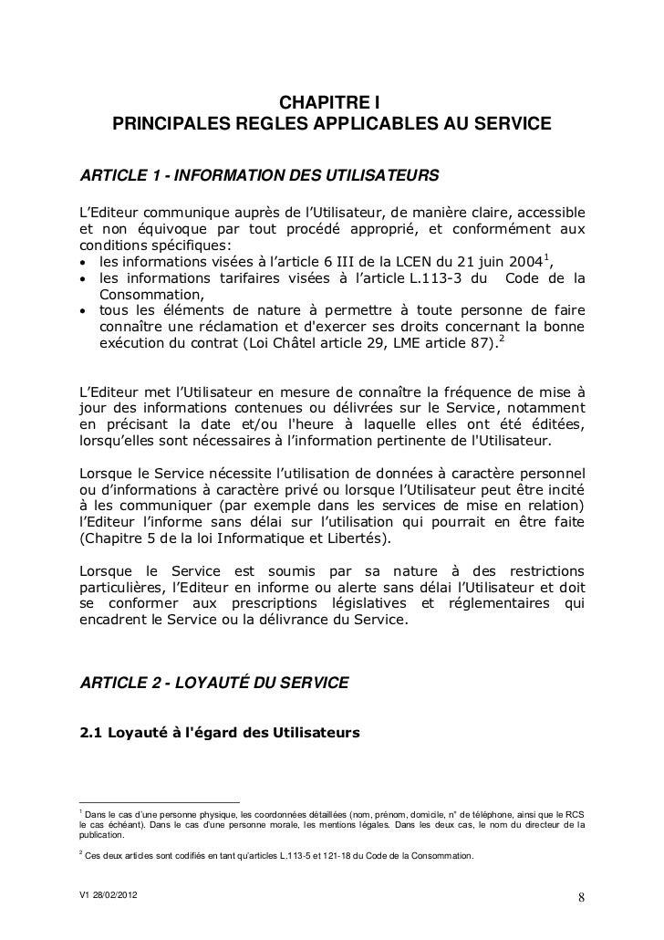 CHAPITRE I          PRINCIPALES REGLES APPLICABLES AU SERVICEARTICLE 1 - INFORMATION DES UTILISATEURSL'Editeur communique ...