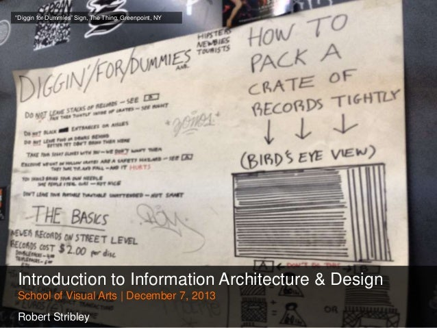 ―Diggin for Dummies‖ Sign, The Thing, Greenpoint, NY  Introduction to Information Architecture & Design School of Visual A...