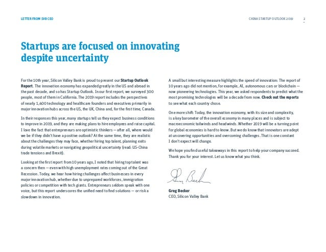 LETTER FROM SVB CEO Startups are focused on innovating despite uncertainty For the 10th year, Silicon Valley Bank is proud...