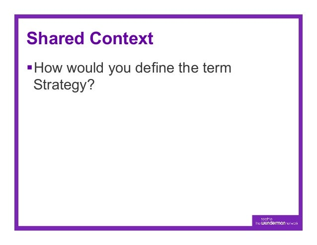 Shared Context§How would you define the term  Strategy?