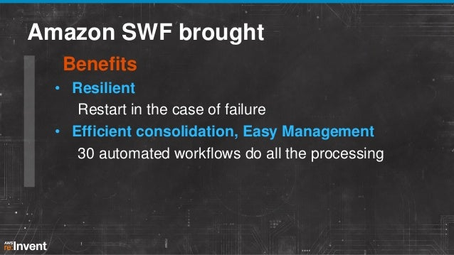 After Amazon SWF Scalable, manageable architecture • Replaced old system with ≈ 24 workflows • Encouraged good design – br...