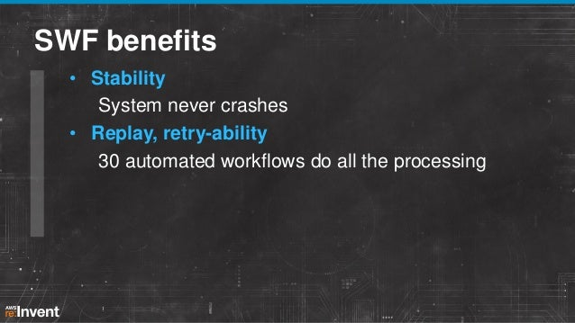 SWF benefits • Performance Image processing times dropped 30 – 80% • Costs optimized Processing machines auto scaled as ne...