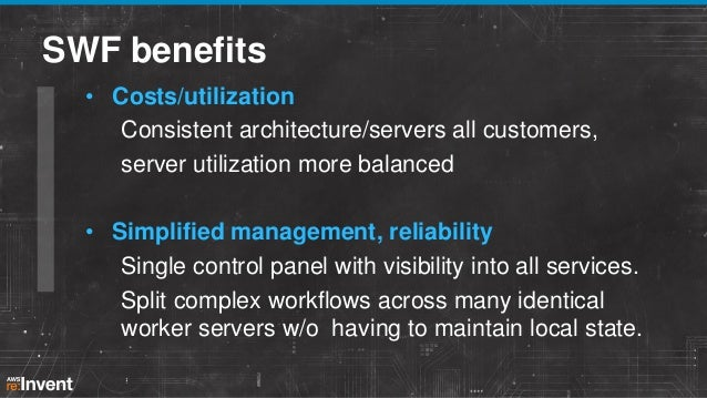 SWF benefits • Auditability State of user's application consistent Reminder emails not duplicated • Flexibility Applicatio...