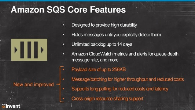 Amazon SQS Core Features  • •  New and improved  Payload size of up to 256KB Message batching for higher throughput and re...