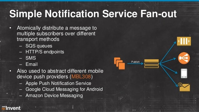 Simple Notification Service Fan-out •  Atomically distribute a message to multiple subscribers over different transport me...