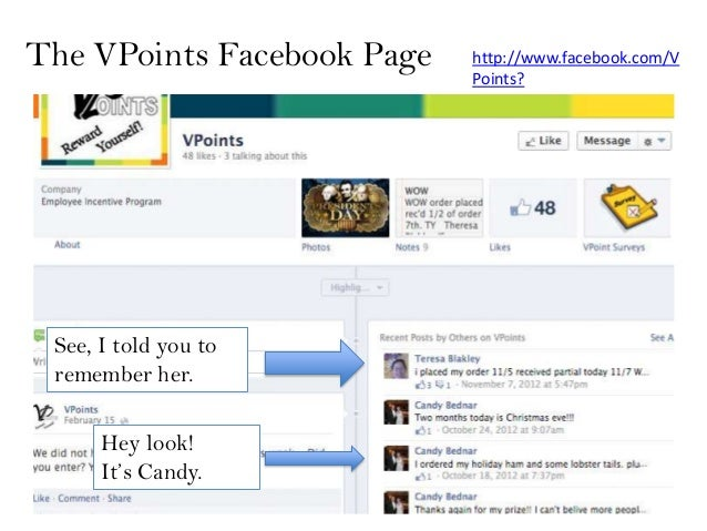 The VPoints Facebook Page   http://www.facebook.com/V                            Points? See, I told you to remember her. ...