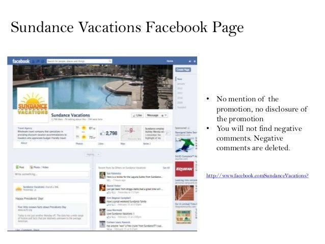 Sundance Vacations Facebook Page                          • No mention of the                            promotion, no dis...