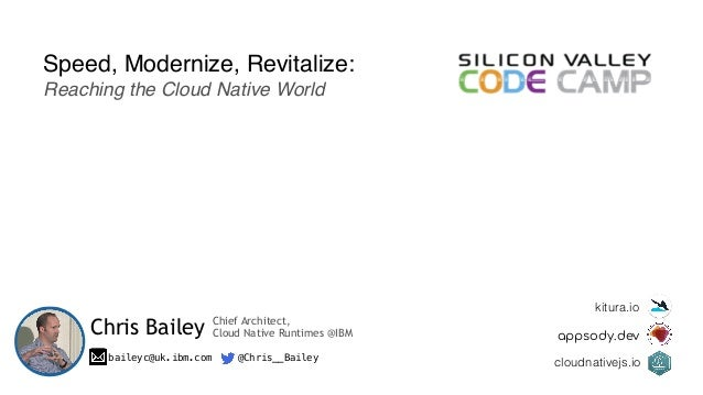 Speed, Modernize, Revitalize: Reaching the Cloud Native World Chris Bailey baileyc@uk.ibm.com @Chris__Bailey kitura.io app...