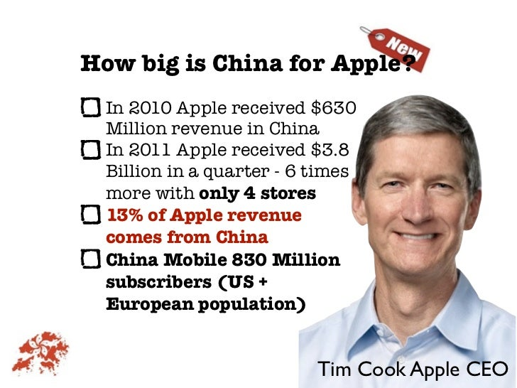 How big is China for Apple?  In 2010 Apple received $630  Million revenue in China  In 2011 Apple received $3.8  Billion i...