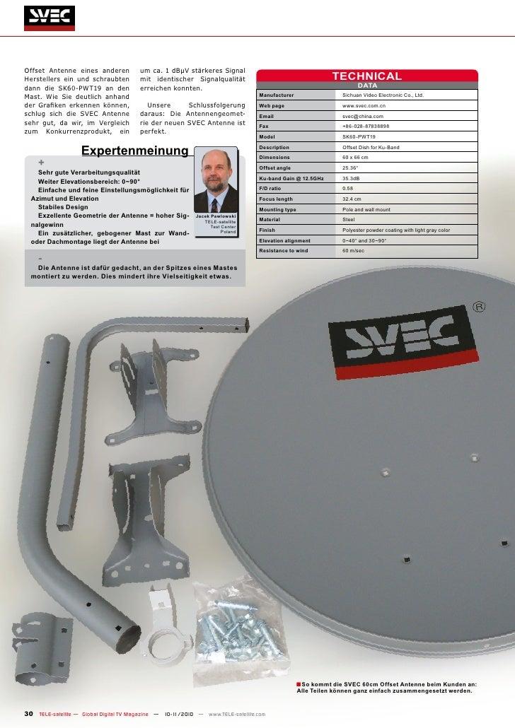 Offset Antenne eines anderen           um ca. 1 dBµV stärkeres SignalHerstellers ein und schraubten         mit identische...