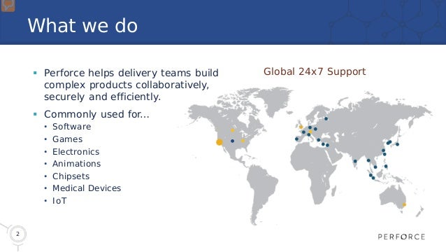 2 What we do  Perforce helps delivery teams build complex products collaboratively, securely and efficiently.  Commonly ...