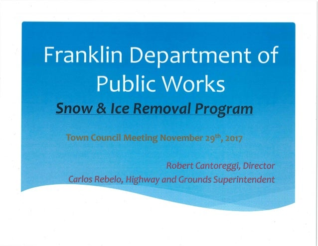 Franklin (MA) DPW Snow/Ice Presentation - 2017