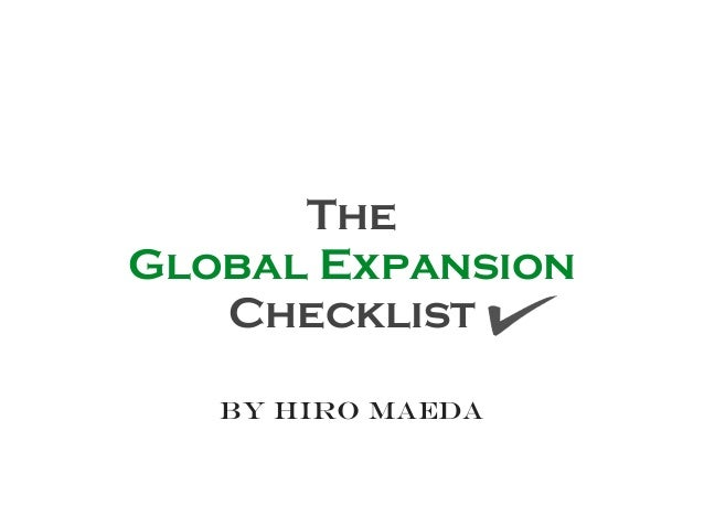 The Global Expansion Checklist by Hiro maeda