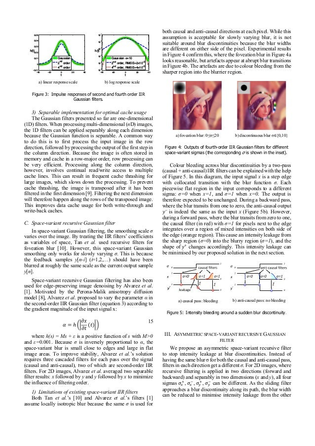 Asymmetric recursive Gaussian filtering for space-variant