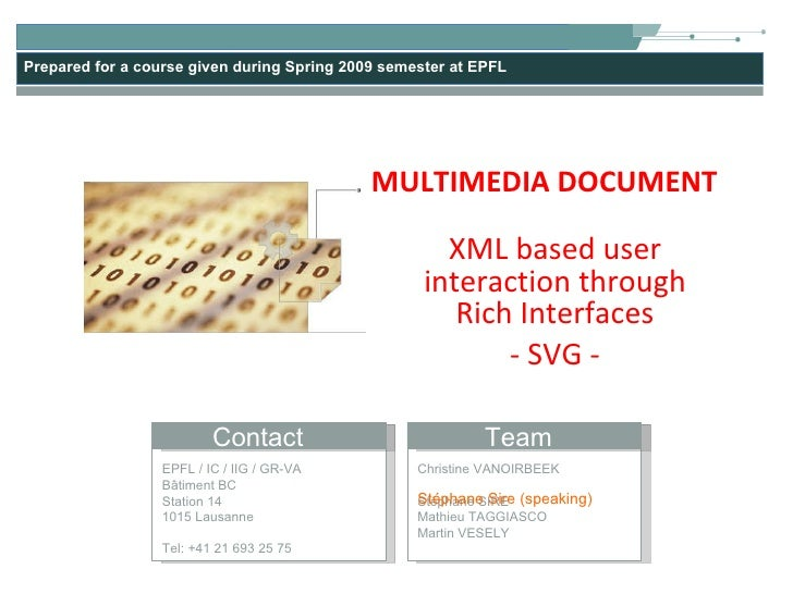 XML based user interaction through Rich Interfaces - SVG - MULTIMEDIA DOCUMENT Stéphane Sire (speaking)