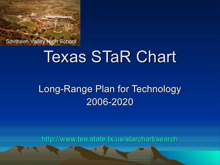 Texas STaR Chart Long-Range Plan for Technology 2006-2020 http:// www.tea.state.tx.us/starchart/search Smithson Valley Hig...