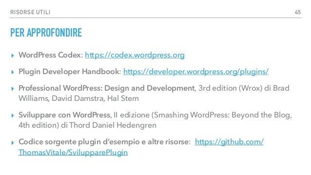 Sviluppare Plugin per WordPress
