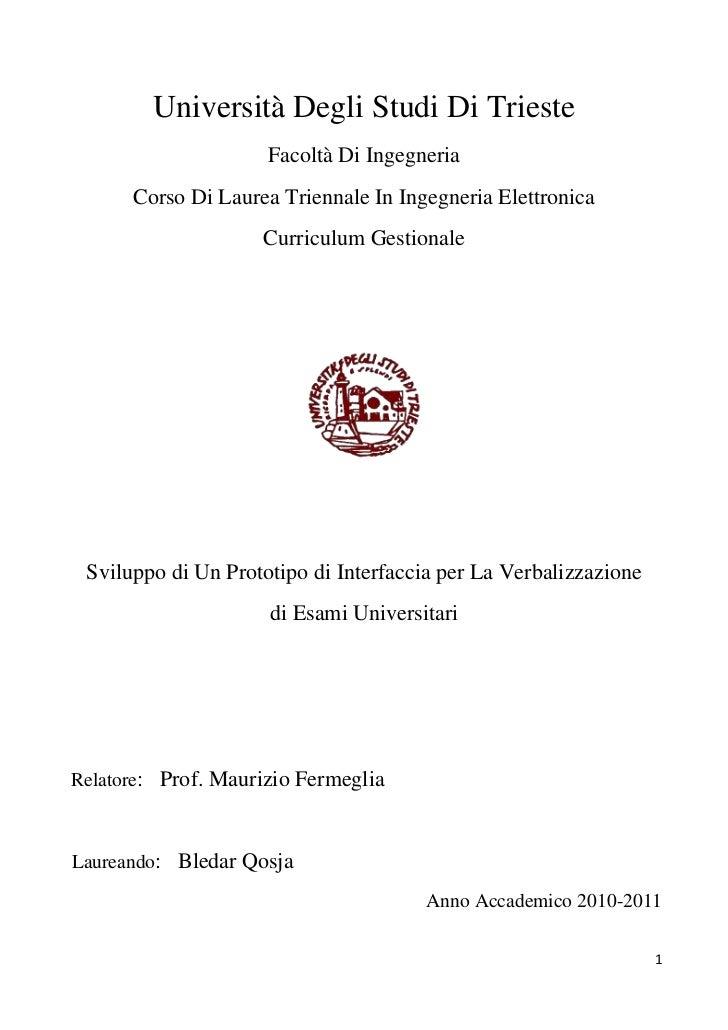 Università Degli Studi Di Trieste                     Facoltà Di Ingegneria      Corso Di Laurea Triennale In Ingegneria E...
