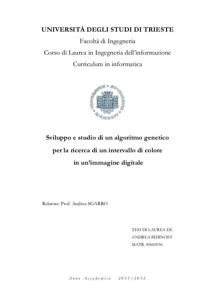 UNIVERSITÀ DEGLI STUDI DI TRIESTE                Facoltà di IngegneriaCorso di Laurea in Ingegneria dell'informazione     ...