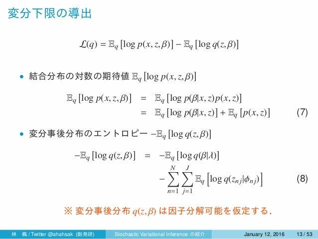 変分下限の導出 L(q) = Eq [ log p(x, z, β) ] − Eq [ log q(z, β) ] • 結合分布の対数の期待値 Eq [ log p(x, z, β) ] Eq [ log p(x, z, β) ] = Eq [...