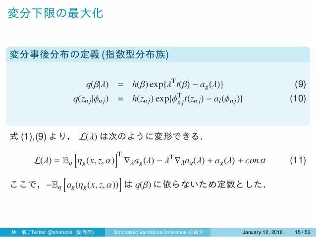 変分下限の最大化 変分事後分布の定義 (指数型分布族) q(β|λ) = h(β) exp{λT t(β) − ag(λ)} (9) q(znj|ϕn j) = h(znj) exp{ϕT njt(znj) − al(ϕnj)} (10) 式 ...