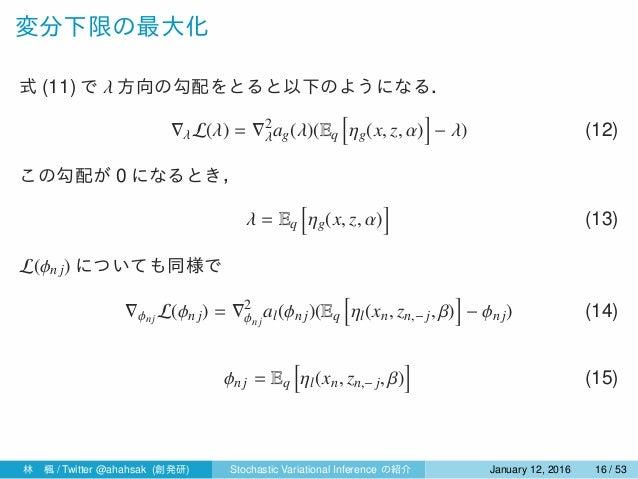 変分下限の最大化 式 (11) で λ 方向の勾配をとると以下のようになる. ∇λL(λ) = ∇2 λag(λ)(Eq [ ηg(x, z, α) ] − λ) (12) この勾配が 0 になるとき, λ = Eq [ ηg(x, z, α)...