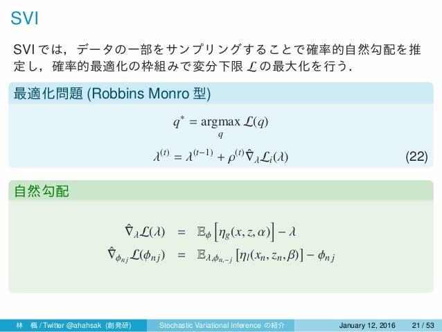 SVI SVI では,データの一部をサンプリングすることで確率的自然勾配を推 定し,確率的最適化の枠組みで変分下限 L の最大化を行う. 最適化問題 (Robbins Monro 型) q∗ = argmax q L(q) λ(t) = λ(t...