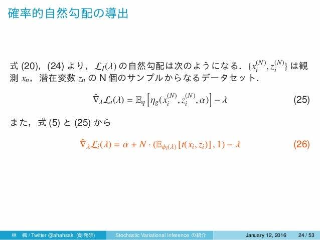 確率的自然勾配の導出 式 (20),(24) より,LI(λ) の自然勾配は次のようになる.{x(N) i , z(N) i } は観 測 xn,潜在変数 zn の N 個のサンプルからなるデータセット. ˆ∇λLi(λ) = Eq [ ηg(...