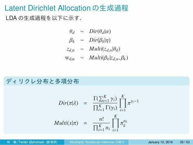 Latent Dirichlet Allocation の生成過程 LDA の生成過程を以下に示す. θd ∼ Dir(θd|α) βk ∼ Dir(βk|η) zd,n ∼ Multi(zd,n|θd) wd,n ∼ Multi(βk|zd,...