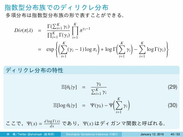 指数型分布族でのディリクレ分布 多項分布は指数型分布族の形で表すことができる. Dir(π|λ) = Γ( ∑K i=1 γi) ∏K i=1 Γ(γi) K∏ i=1 πγi−1 = exp    ( K∑ i=1 (γi − ...