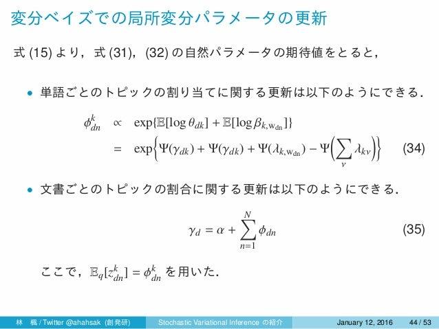 変分ベイズでの局所変分パラメータの更新 式 (15) より,式 (31),(32) の自然パラメータの期待値をとると, • 単語ごとのトピックの割り当てに関する更新は以下のようにできる. ϕk dn ∝ exp{E[log θdk] + E[l...
