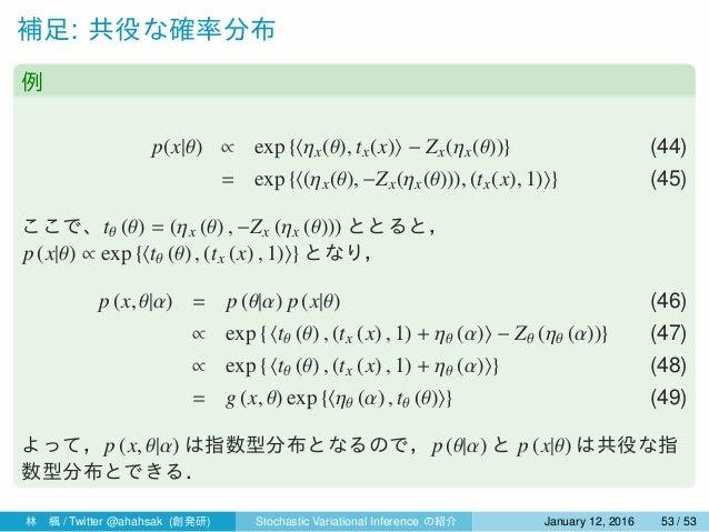 補足: 共役な確率分布 例 p(x|θ) ∝ exp {⟨ηx(θ), tx(x)⟩ − Zx(ηx(θ))} (44) = exp {⟨(ηx(θ), −Zx(ηx(θ))), (tx(x), 1)⟩} (45) ここで、tθ (θ) = (...
