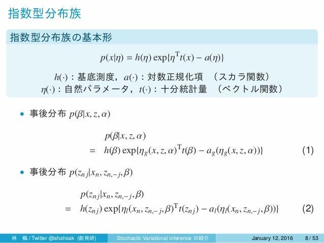 指数型分布族 指数型分布族の基本形 p(x|η) = h(η) exp{ηT t(x) − a(η)} h(·):基底測度,a(·):対数正規化項 (スカラ関数) η(·):自然パラメータ,t(·):十分統計量 (ベクトル関数) • 事後分布 ...