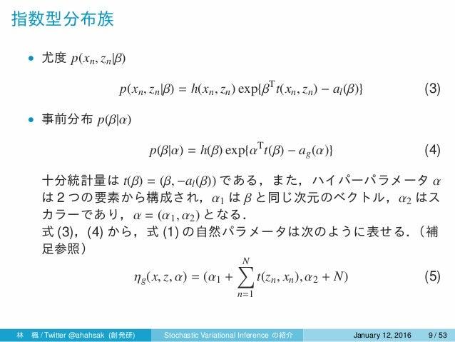 指数型分布族 • 尤度 p(xn, zn|β) p(xn, zn|β) = h(xn, zn) exp{βT t(xn, zn) − al(β)} (3) • 事前分布 p(β|α) p(β|α) = h(β) exp{αT t(β) − ag...