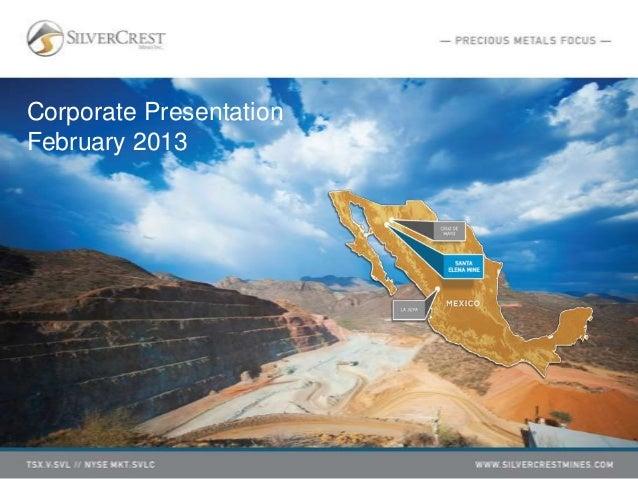 Corporate PresentationFebruary 2013