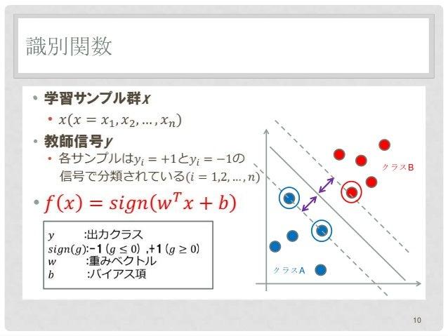 識別関数•              クラスB       クラスA                 10