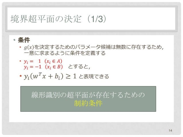 境界超平面の決定(1/3)•    線形識別の超平面が存在するための          制約条件                       14