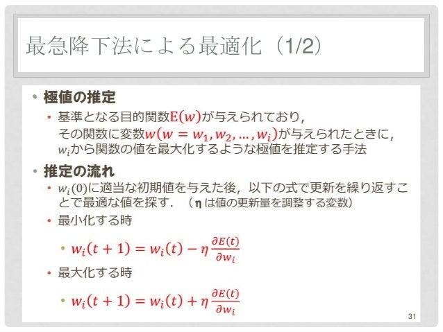 最急降下法による最適化(1/2)•                   31
