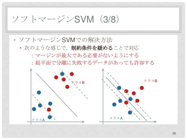 ソフトマージンSVM(3/8)• ソフトマージンSVMでの解決方法 • 次のような感じで,制約条件を緩めることで対応    :マージンが最大である必要がないようにする    :超平面で分離に失敗するデータがあっても許容する           ...