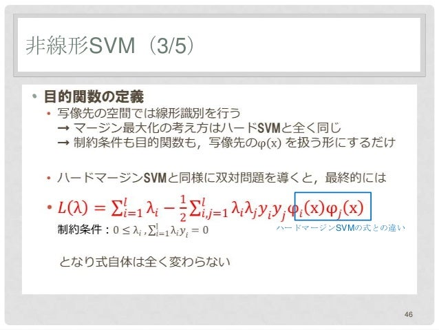 非線形SVM(3/5)•              ハードマージンSVMの式との違い                             46